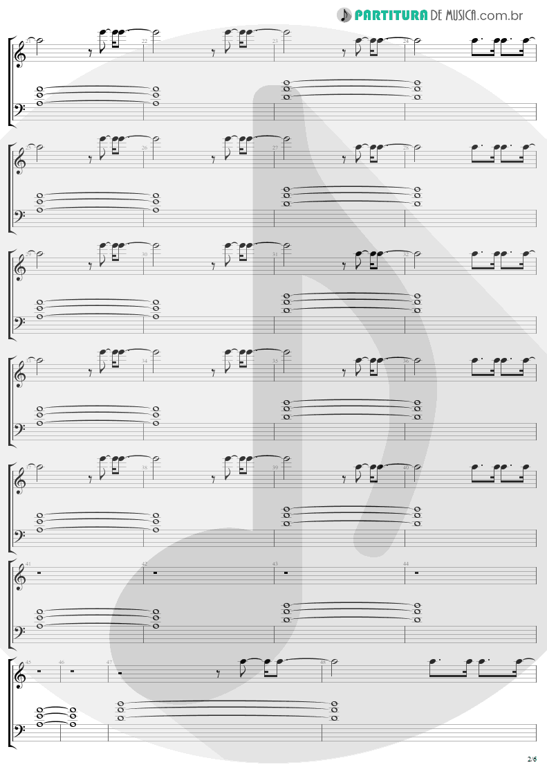 Partitura de musica de Piano - Bad | U2 | The Unforgettable Fire 1984 - pag 2