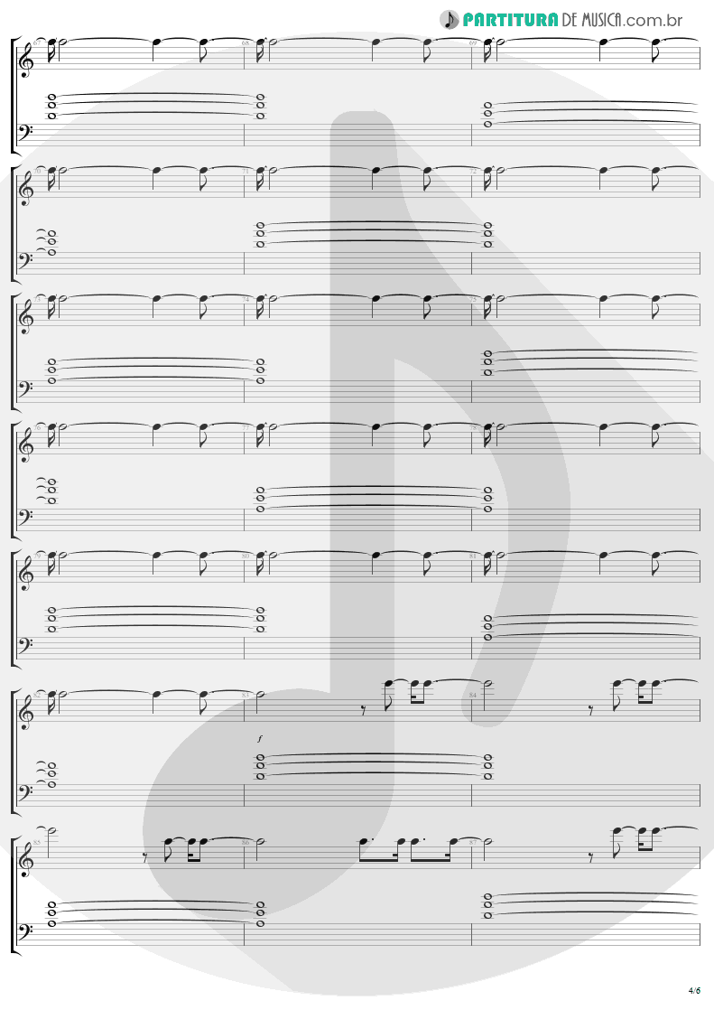 Partitura de musica de Piano - Bad | U2 | The Unforgettable Fire 1984 - pag 4