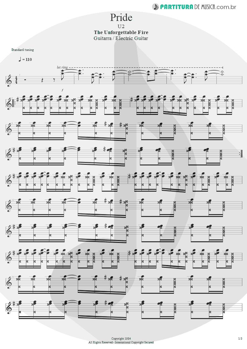 Partitura de musica de Guitarra Elétrica - Pride   U2   The Unforgettable Fire 1984 - pag 1