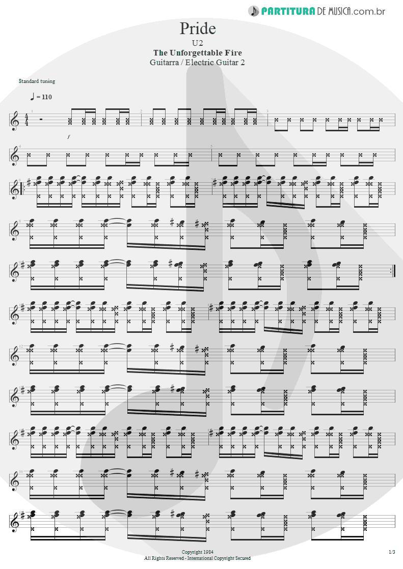 Partitura de musica de Guitarra Elétrica - Pride | U2 | The Unforgettable Fire 1984 - pag 1