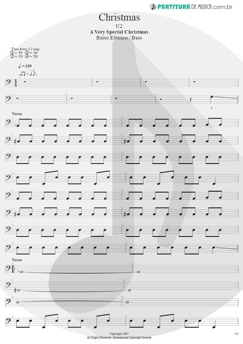 Partitura de musica de Baixo Elétrico - Christmas | U2 | A Very Special Christmas 1987 - pag 1