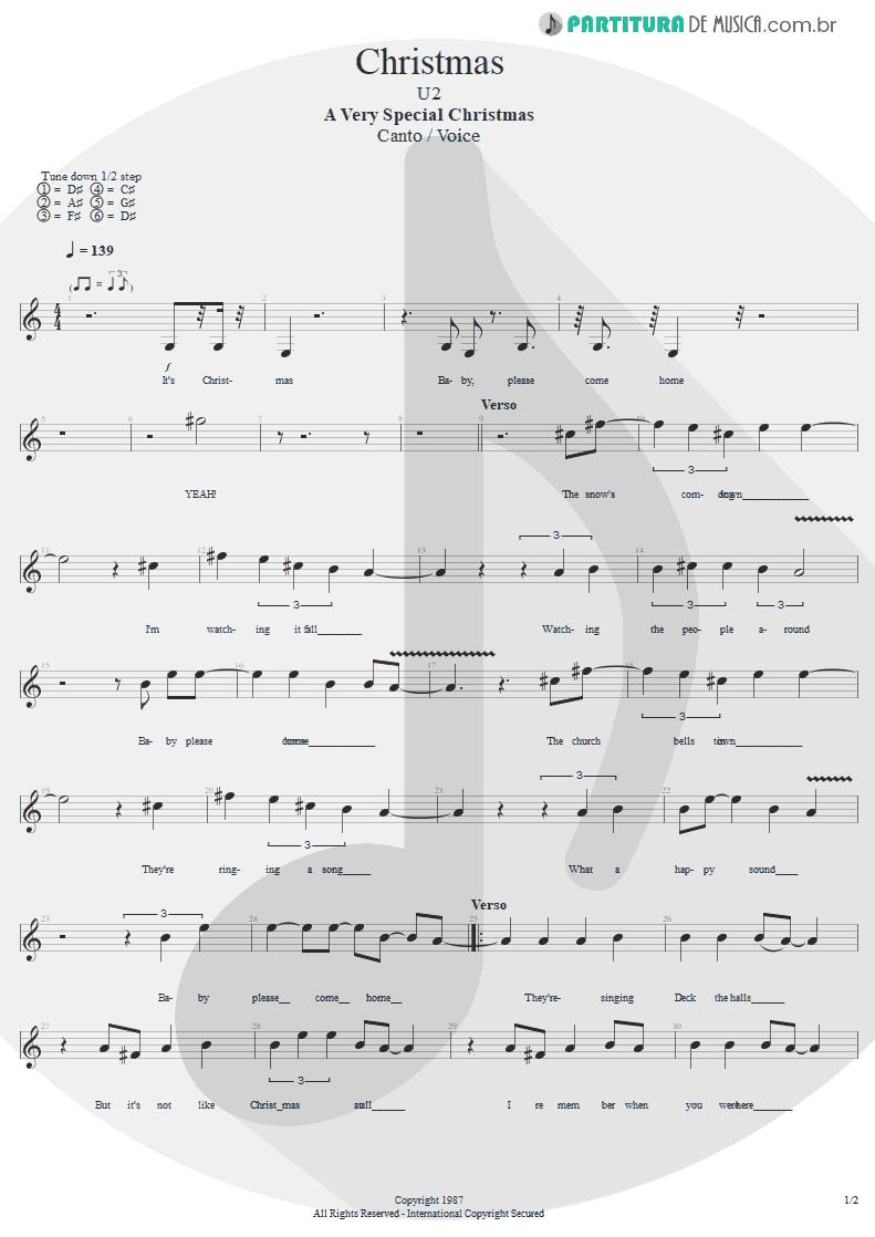 Partitura de musica de Canto - Christmas   U2   A Very Special Christmas 1987 - pag 1