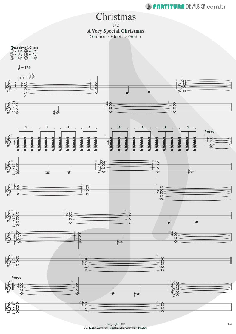 Partitura de musica de Guitarra Elétrica - Christmas | U2 | A Very Special Christmas 1987 - pag 1