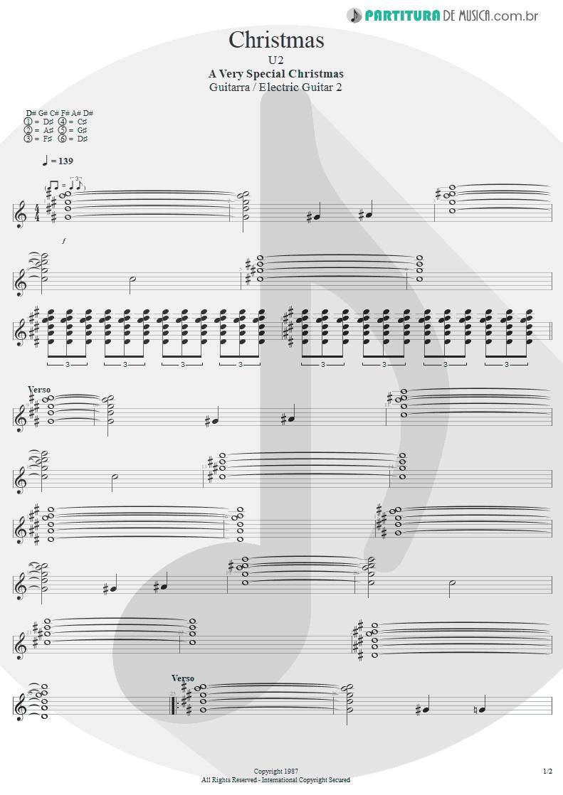 Partitura de musica de Guitarra Elétrica - Christmas   U2   A Very Special Christmas 1987 - pag 1