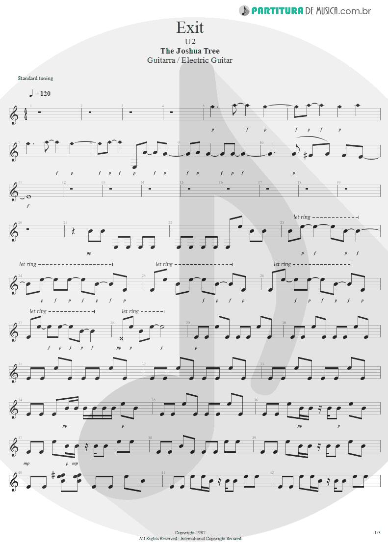 Partitura de musica de Guitarra Elétrica - Exit | U2 | The Joshua Tree 1987 - pag 1