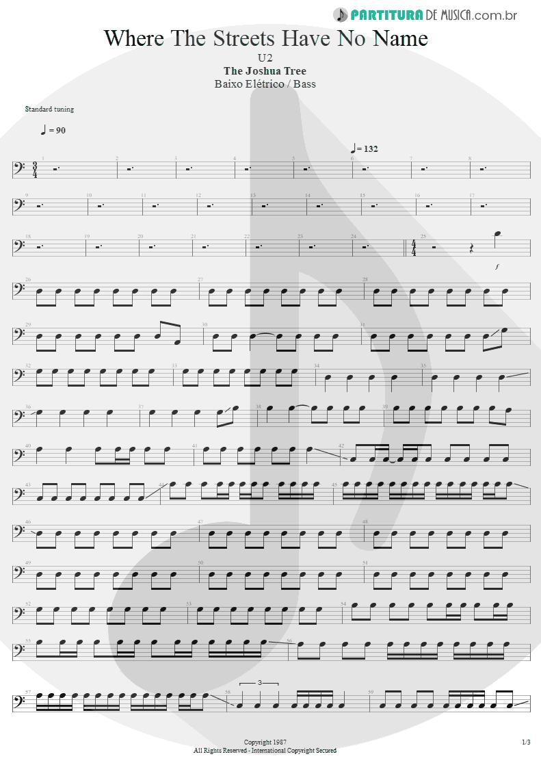 Partitura de musica de Baixo Elétrico - Where The Streets Have No Name | U2 | The Joshua Tree 1987 - pag 1