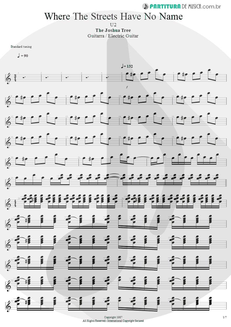 Partitura de musica de Guitarra Elétrica - Where The Streets Have No Name   U2   The Joshua Tree 1987 - pag 1