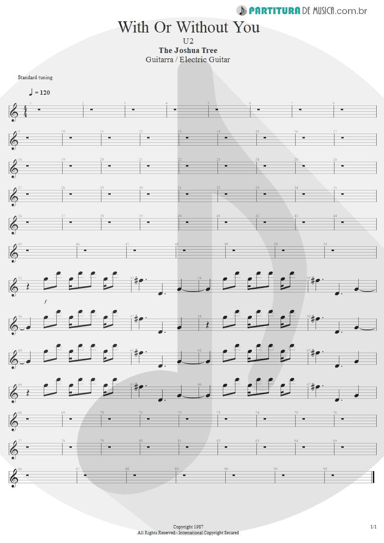 Partitura de musica de Guitarra Elétrica - With Or Without You | U2 | The Joshua Tree 1987 - pag 1