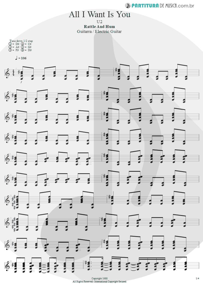 Partitura de musica de Guitarra Elétrica - All I Want Is You   U2   Rattle and Hum 1988 - pag 1