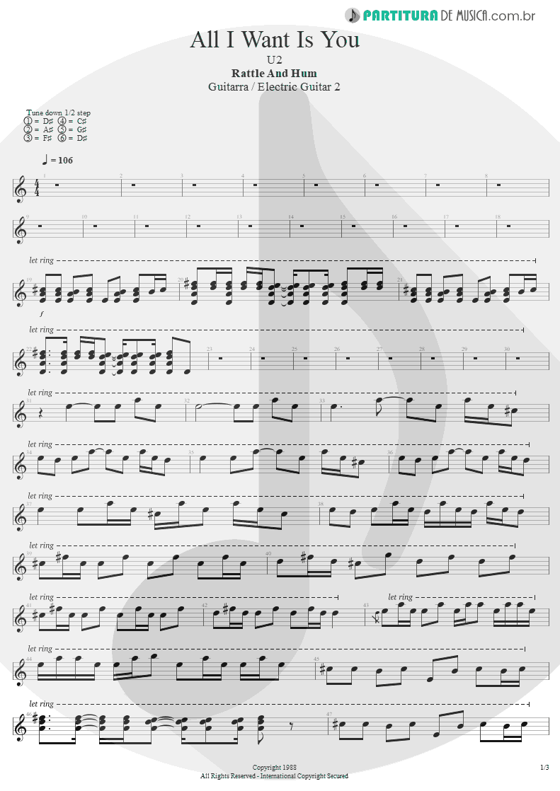Partitura de musica de Guitarra Elétrica - All I Want Is You | U2 | Rattle and Hum 1988 - pag 1