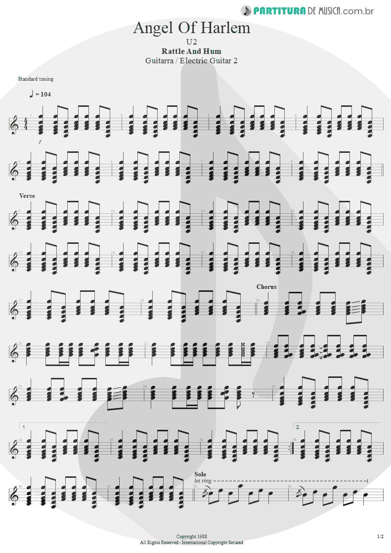 Partitura de musica de Guitarra Elétrica - Angel Of Harlem | U2 | Rattle and Hum 1988 - pag 1