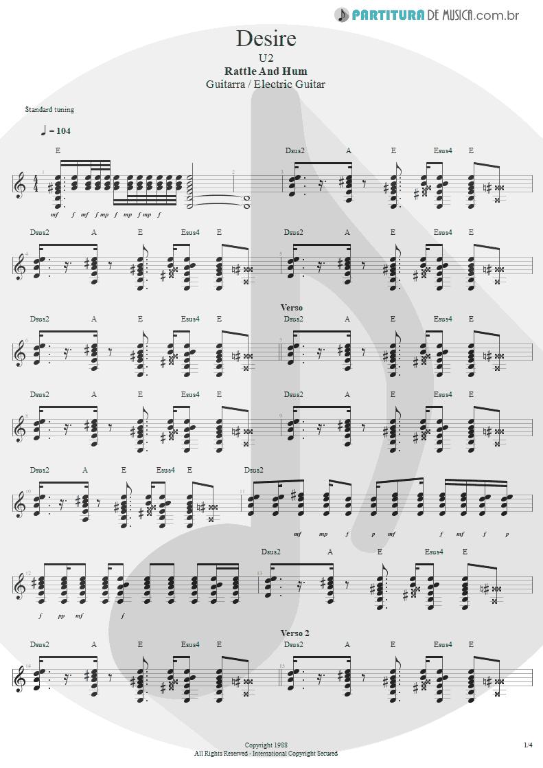 Partitura de musica de Guitarra Elétrica - Desire   U2   Rattle and Hum 1988 - pag 1