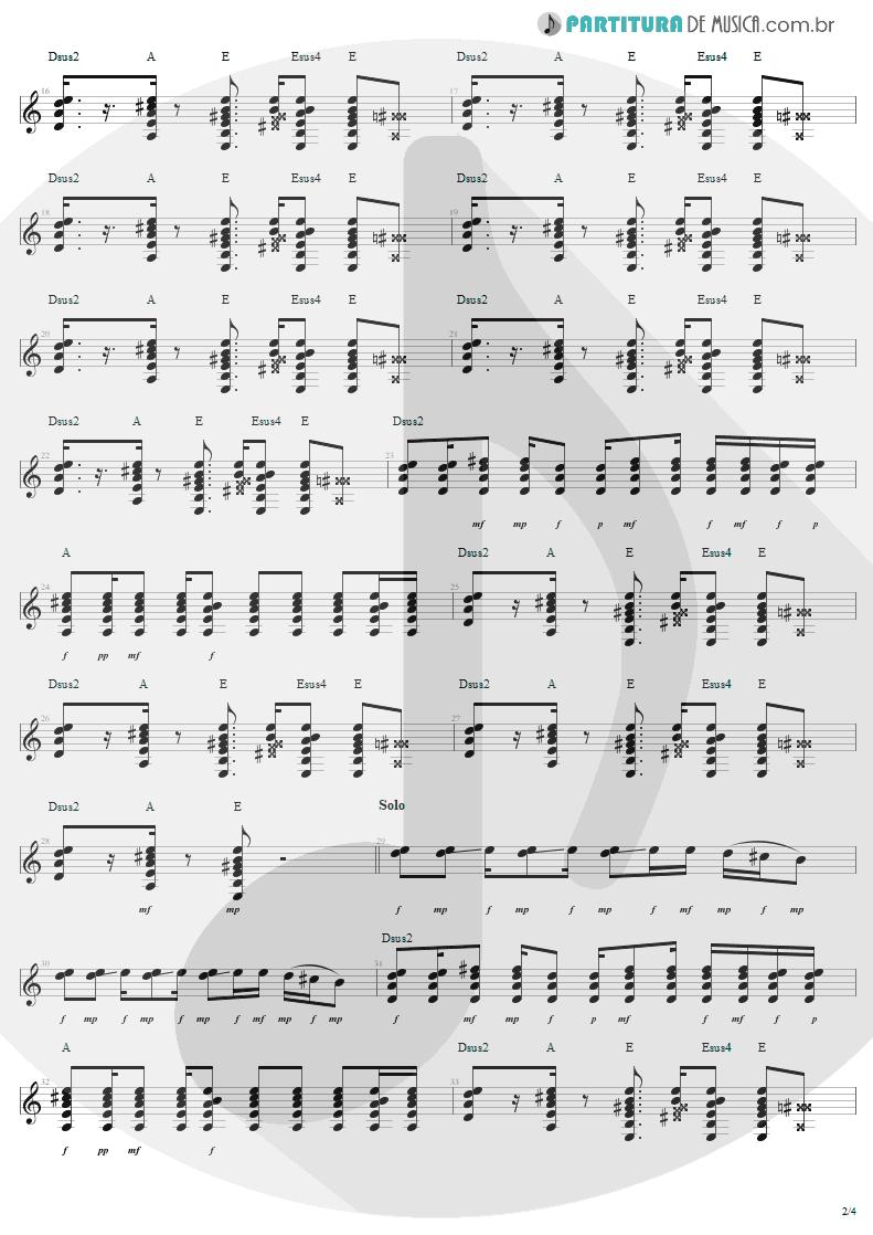 Partitura de musica de Guitarra Elétrica - Desire   U2   Rattle and Hum 1988 - pag 2
