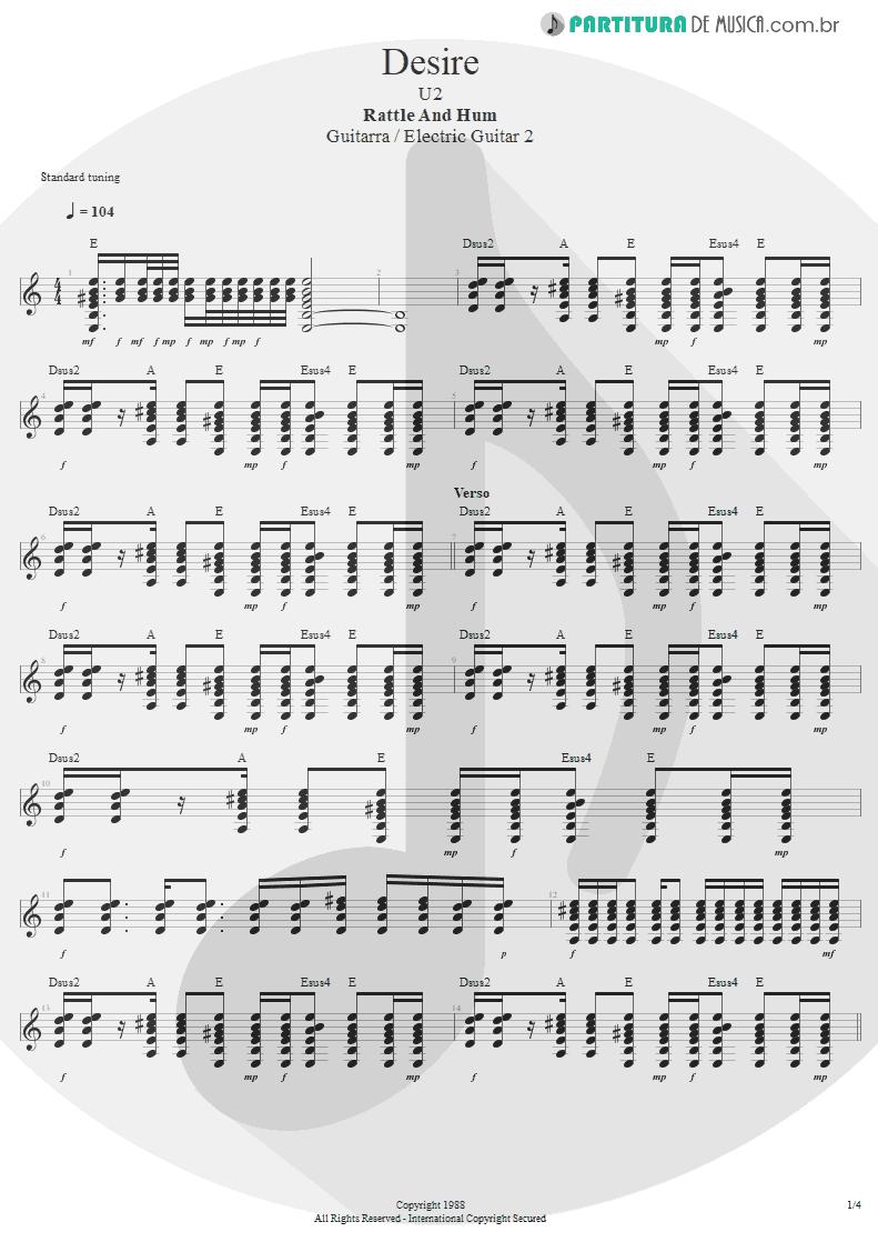 Partitura de musica de Guitarra Elétrica - Desire | U2 | Rattle and Hum 1988 - pag 1