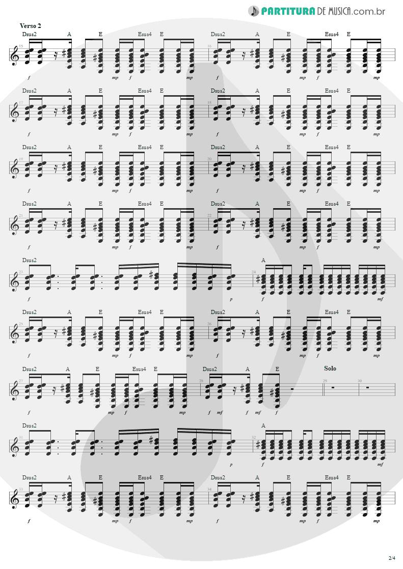 Partitura de musica de Guitarra Elétrica - Desire | U2 | Rattle and Hum 1988 - pag 2
