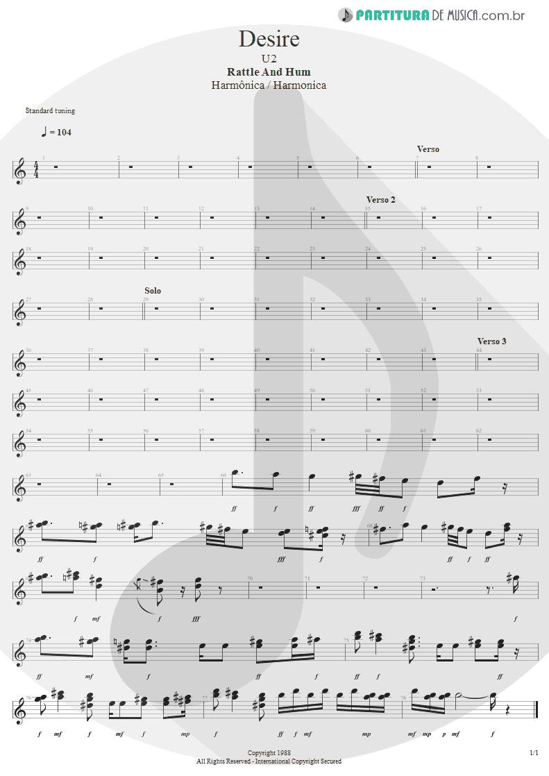Partitura de musica de Harmônica - Desire | U2 | Rattle and Hum 1988 - pag 1