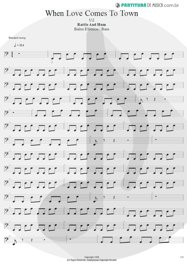 Partitura de musica de Baixo Elétrico - When Love Comes To Town | U2 | Rattle and Hum 1988 - pag 1