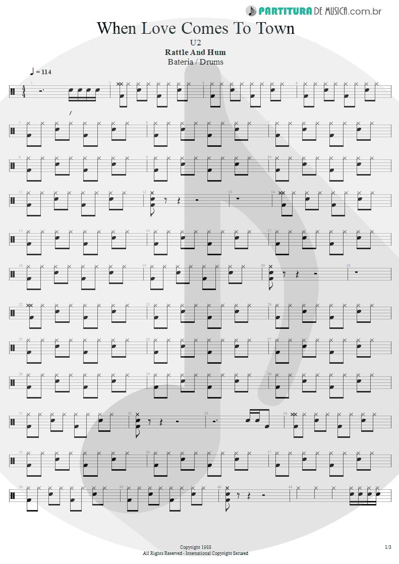 Partitura de musica de Bateria - When Love Comes To Town | U2 | Rattle and Hum 1988 - pag 1