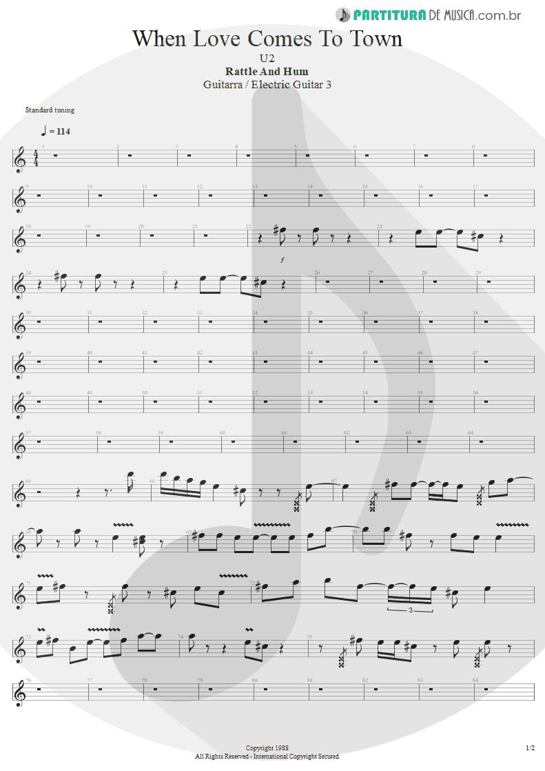 Partitura de musica de Guitarra Elétrica - When Love Comes To Town | U2 | Rattle and Hum 1988 - pag 1