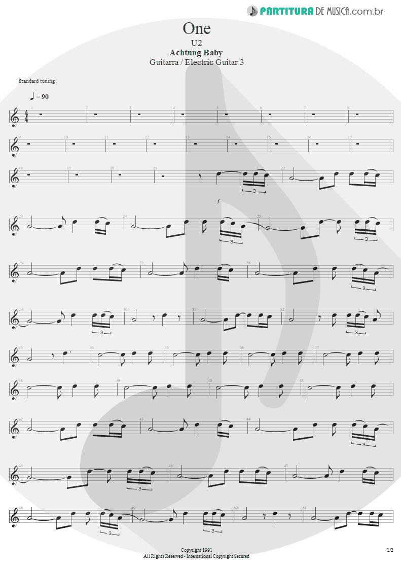 Partitura de musica de Guitarra Elétrica - One | U2 | Achtung Baby 1991 - pag 1