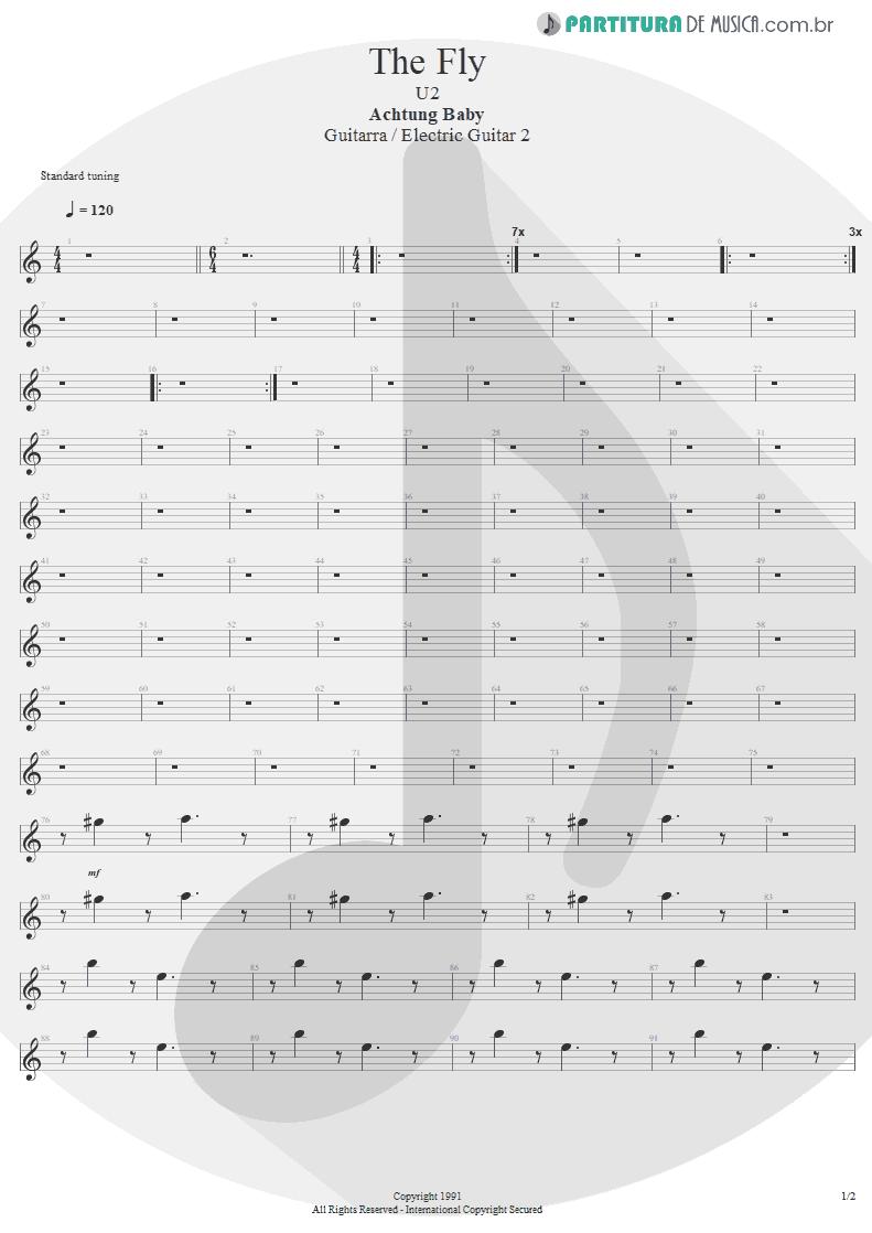 Partitura de musica de Guitarra Elétrica - The Fly | U2 | Achtung Baby 1991 - pag 1