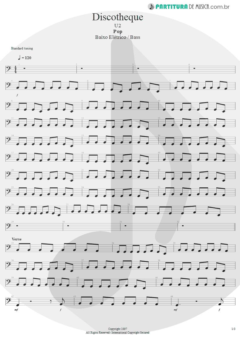 Partitura de musica de Baixo Elétrico - Discotheque | U2 | Pop 1997 - pag 1