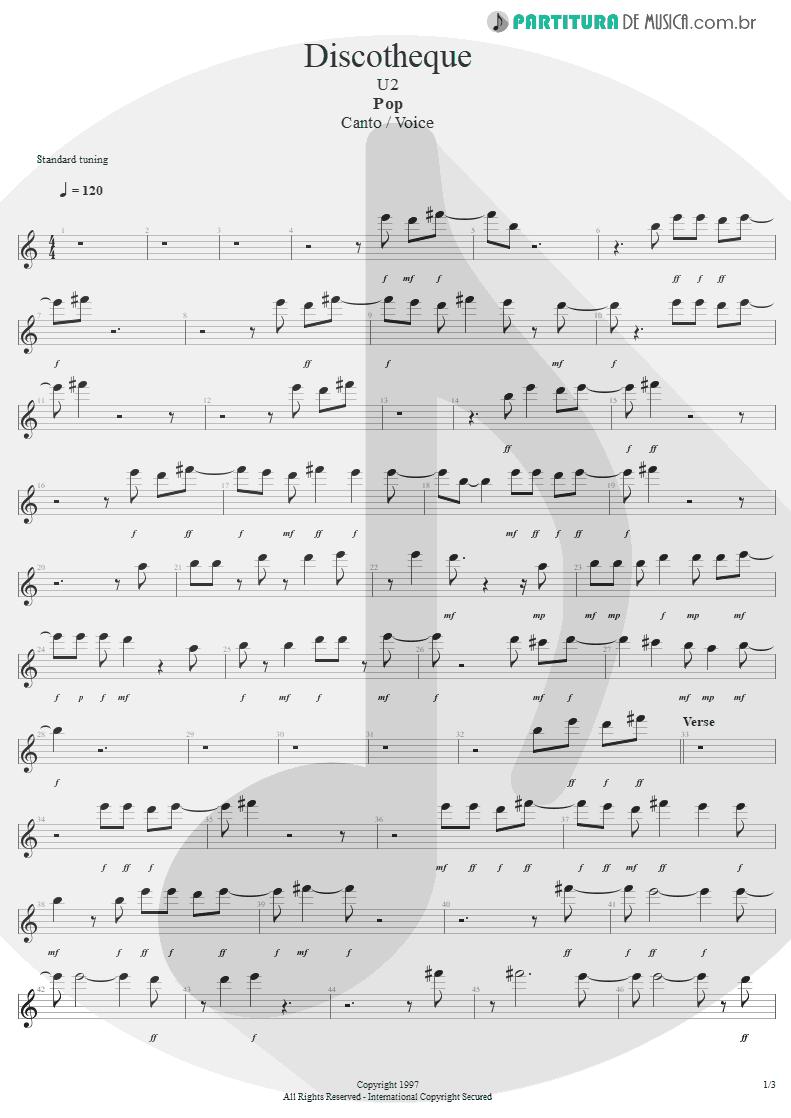 Partitura de musica de Canto - Discotheque | U2 | Pop 1997 - pag 1