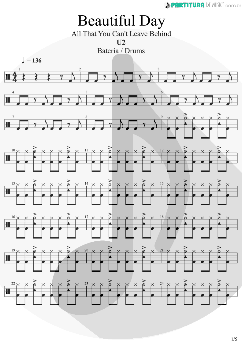 Partitura de musica de Bateria - Beautiful Day | U2 | All That You Can't Leave Behind 2000 - pag 1