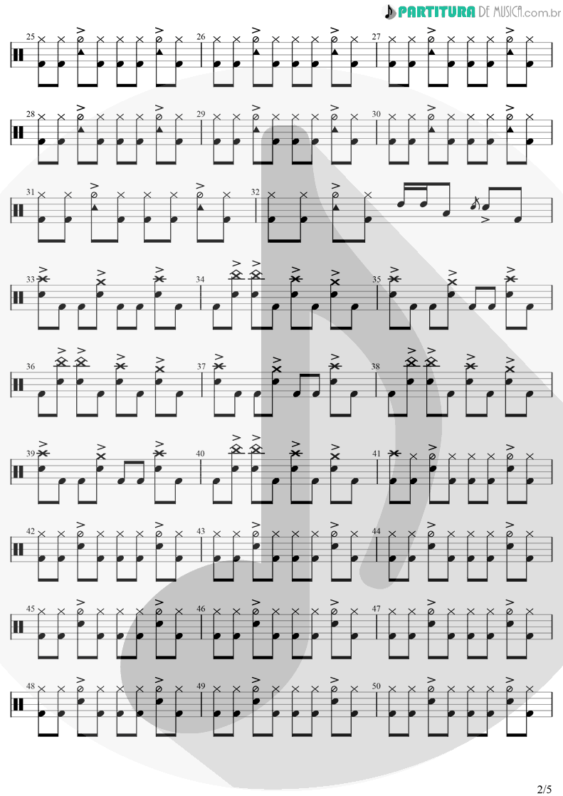 Partitura de musica de Bateria - Beautiful Day | U2 | All That You Can't Leave Behind 2000 - pag 2
