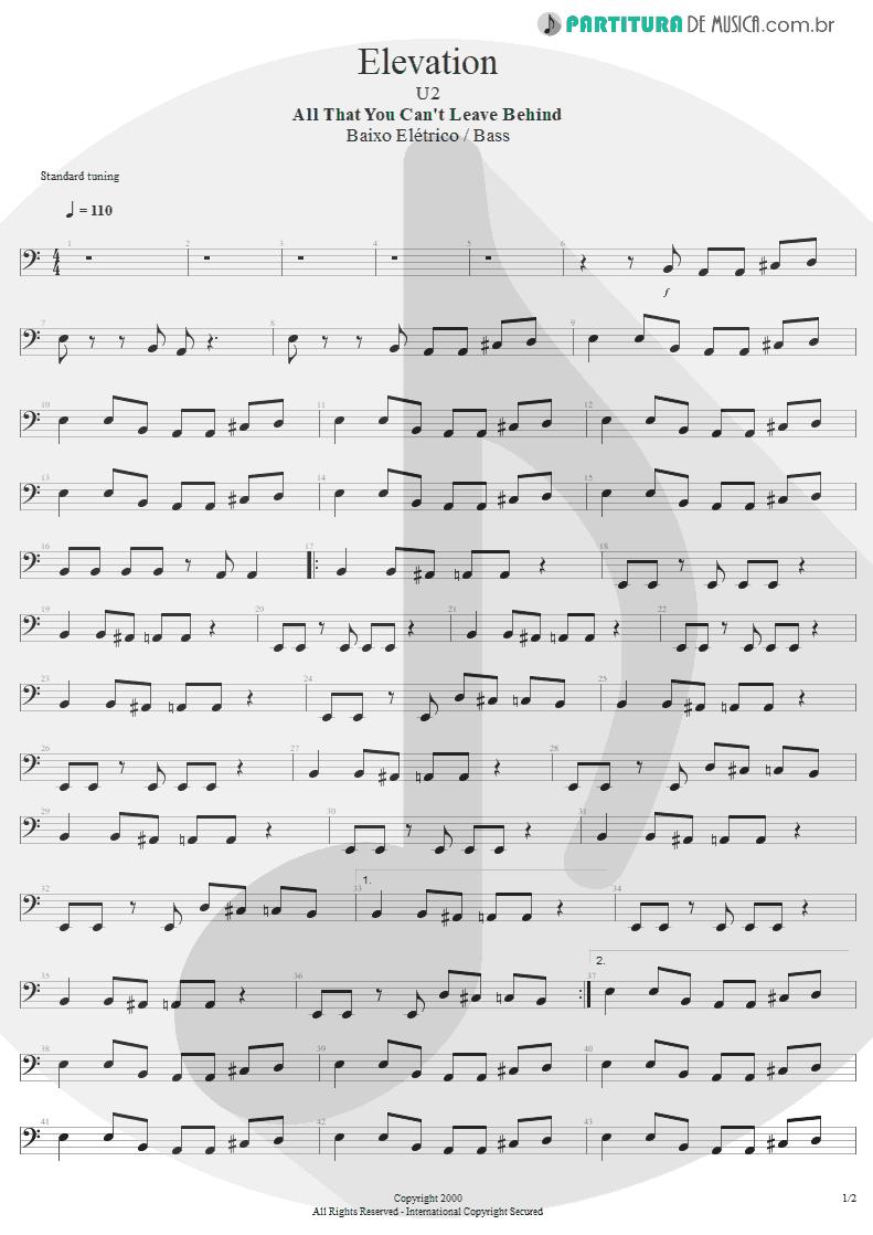Partitura de musica de Baixo Elétrico - Elevation   U2   All That You Can't Leave Behind 2000 - pag 1