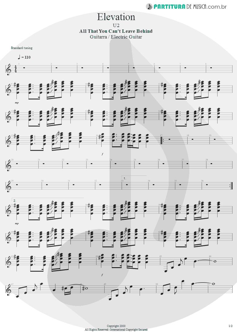 Partitura de musica de Guitarra Elétrica - Elevation   U2   All That You Can't Leave Behind 2000 - pag 1
