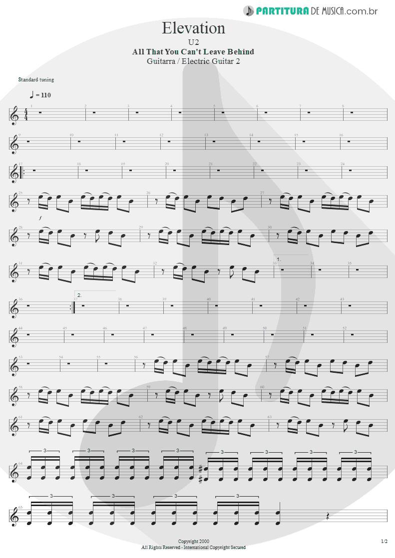 Partitura de musica de Guitarra Elétrica - Elevation | U2 | All That You Can't Leave Behind 2000 - pag 1