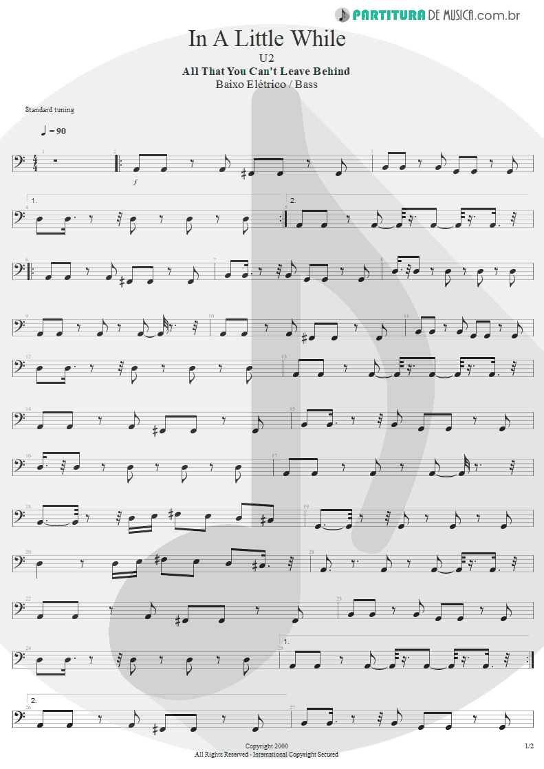 Partitura de musica de Baixo Elétrico - In A Little While | U2 | All That You Can't Leave Behind 2000 - pag 1