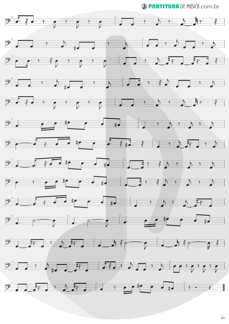 Partitura de musica de Baixo Elétrico - In A Little While | U2 | All That You Can't Leave Behind 2000 - pag 2