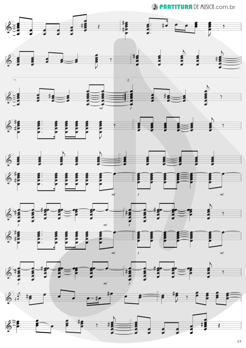 Partitura de musica de Guitarra Elétrica - In A Little While | U2 | All That You Can't Leave Behind 2000 - pag 2