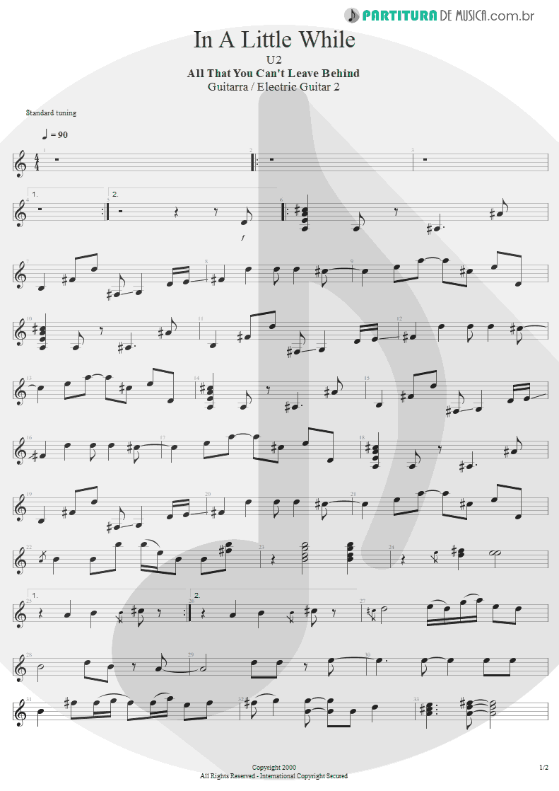 Partitura de musica de Guitarra Elétrica - In A Little While | U2 | All That You Can't Leave Behind 2000 - pag 1