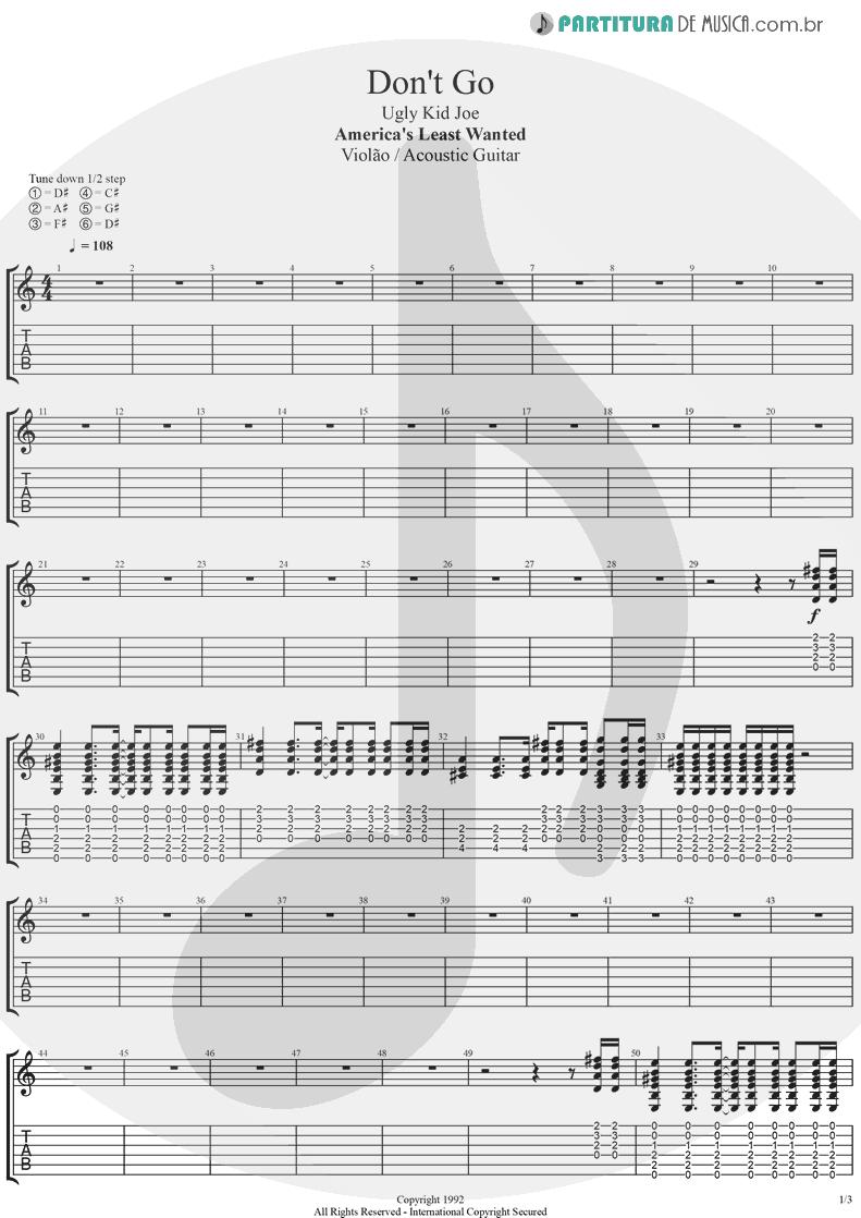 Tablatura + Partitura de musica de Violão - Don't Go | Ugly Kid Joe | America's Least Wanted 1992 - pag 1