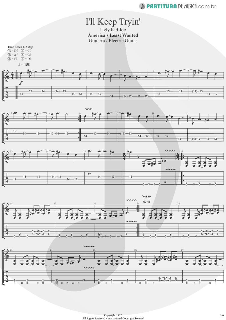 Tablatura + Partitura de musica de Guitarra Elétrica - I'll Keep Tryin'   Ugly Kid Joe   America's Least Wanted 1992 - pag 1