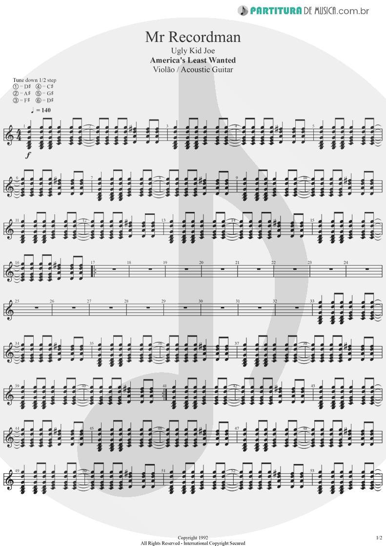 Partitura de musica de Violão - Mr. Recordman   Ugly Kid Joe   America's Least Wanted 1992 - pag 1