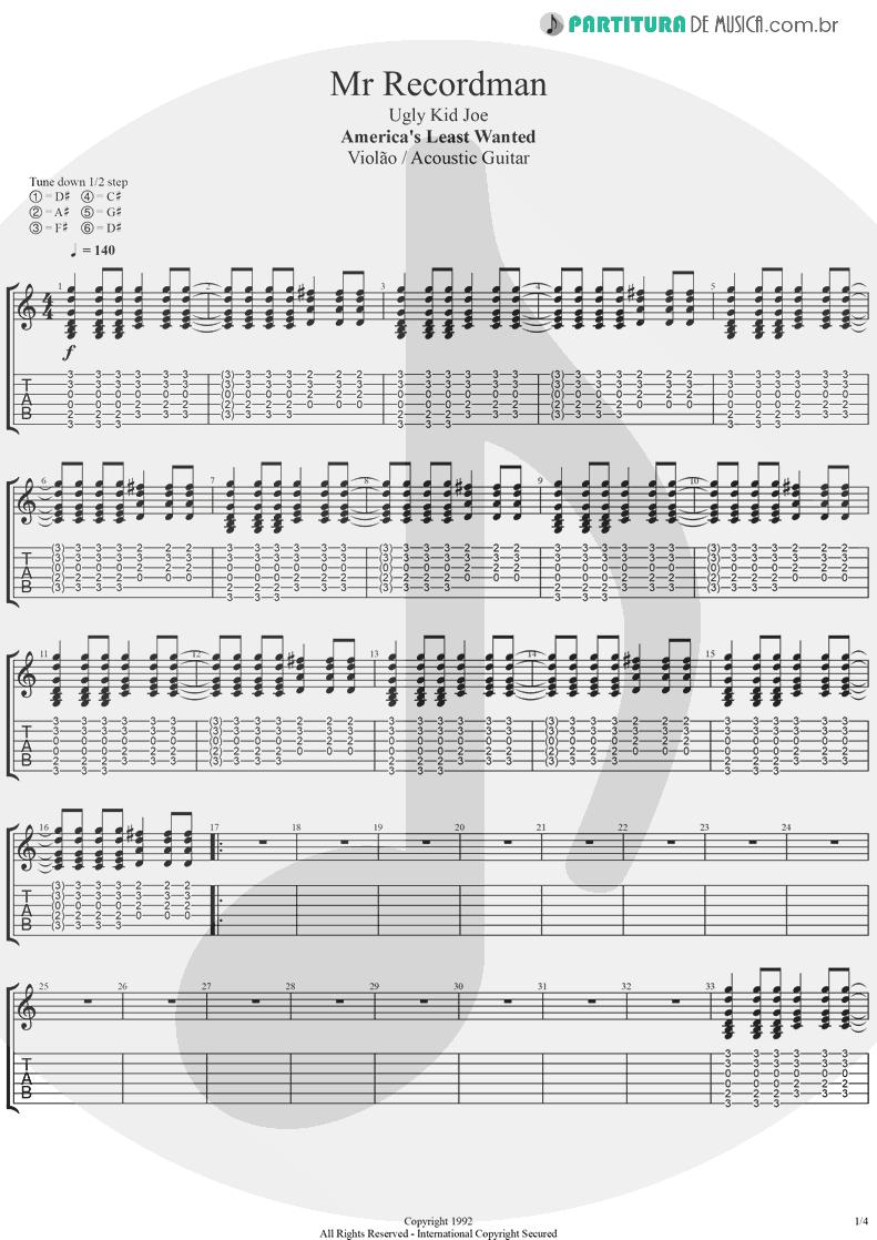 Tablatura + Partitura de musica de Violão - Mr. Recordman | Ugly Kid Joe | America's Least Wanted 1992 - pag 1