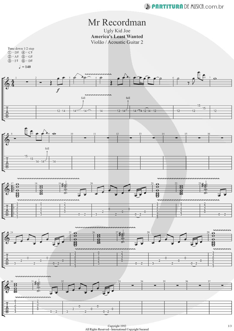 Tablatura + Partitura de musica de Violão - Mr. Recordman   Ugly Kid Joe   America's Least Wanted 1992 - pag 1