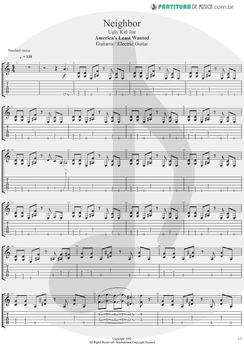 Tablatura + Partitura de musica de Guitarra Elétrica - Neighbor | Ugly Kid Joe | America's Least Wanted 1992 - pag 1