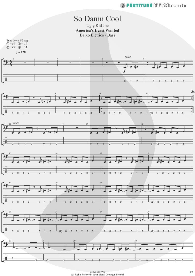 Tablatura + Partitura de musica de Baixo Elétrico - So Damn Cool | Ugly Kid Joe | America's Least Wanted 1992 - pag 1