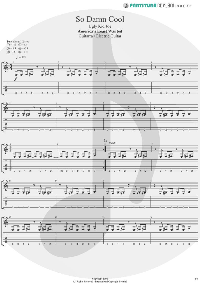Tablatura + Partitura de musica de Guitarra Elétrica - So Damn Cool | Ugly Kid Joe | America's Least Wanted 1992 - pag 1