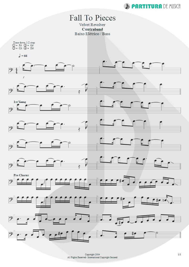 Partitura de musica de Baixo Elétrico - Fall To Pieces | Velvet Revolver | Contraband 2004 - pag 1