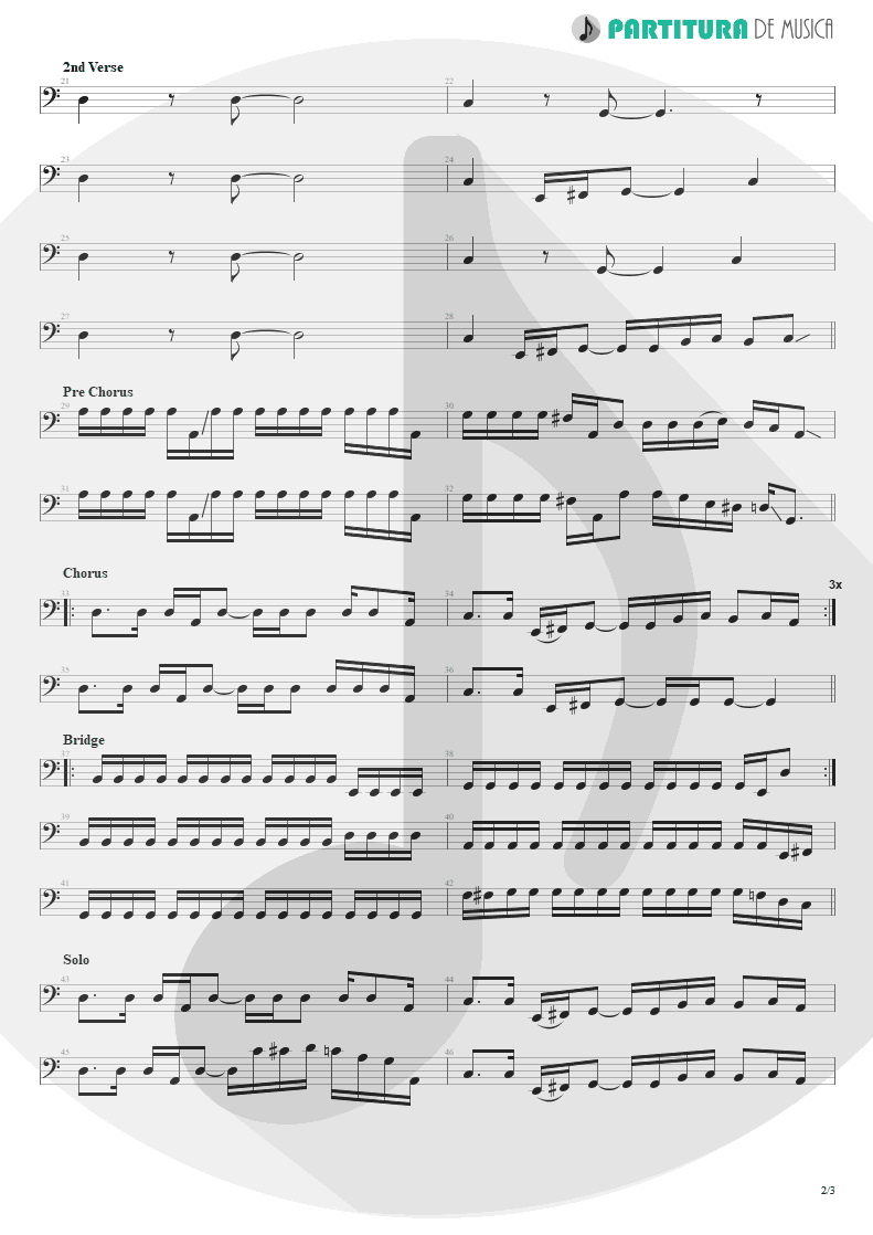 Partitura de musica de Baixo Elétrico - Fall To Pieces | Velvet Revolver | Contraband 2004 - pag 2