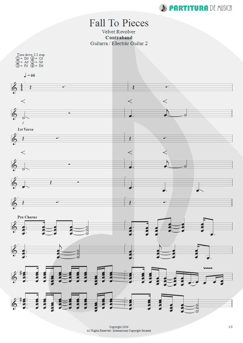 Partitura de musica de Guitarra Elétrica - Fall To Pieces | Velvet Revolver | Contraband 2004 - pag 1
