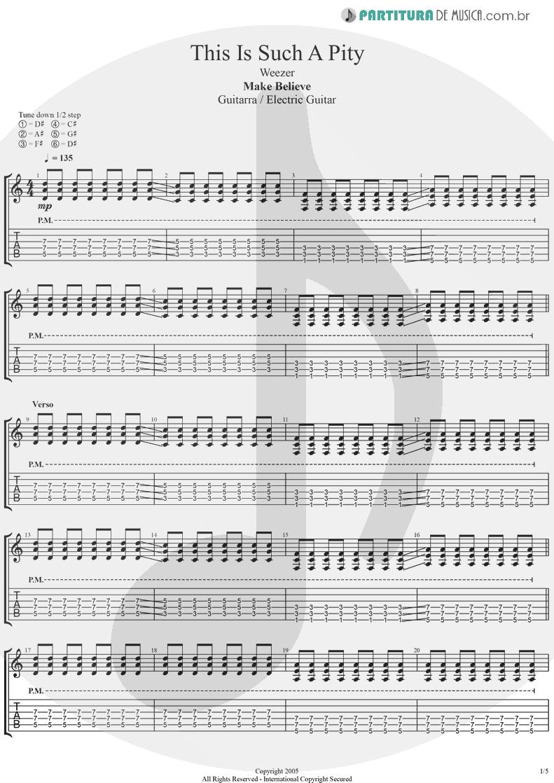 Tablatura + Partitura de musica de Guitarra Elétrica - This Is Such A Pity   Weezer   Make Believe 2005 - pag 1