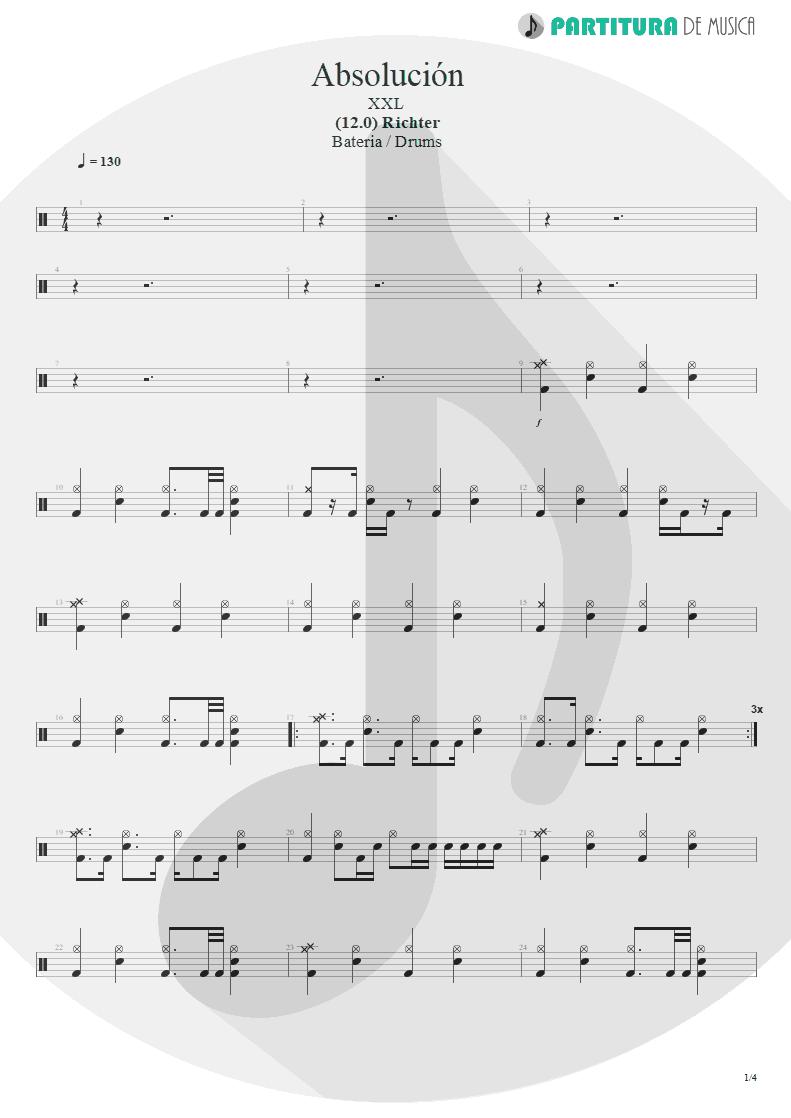Partitura de musica de Bateria - Absolución | XXL | (12.0) Richter 2005 - pag 1