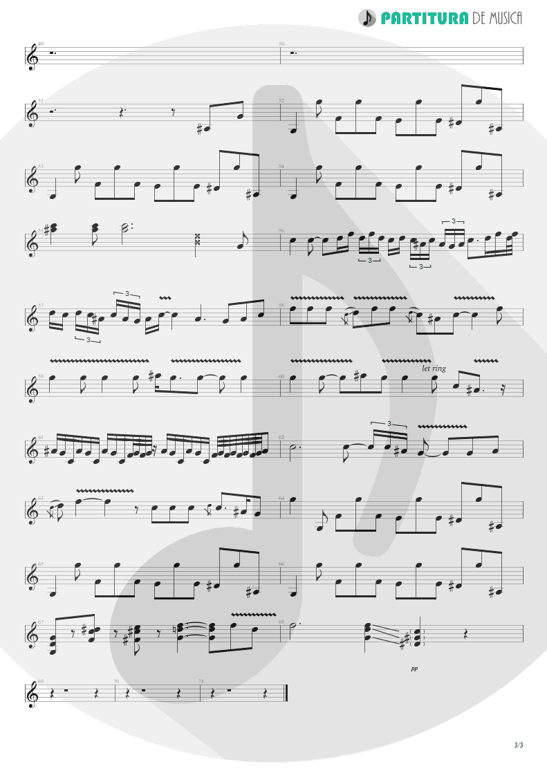 Partitura de musica de Guitarra Elétrica - Jesus Just Left Chicago | ZZ Top | Tres Hombres 1973 - pag 3